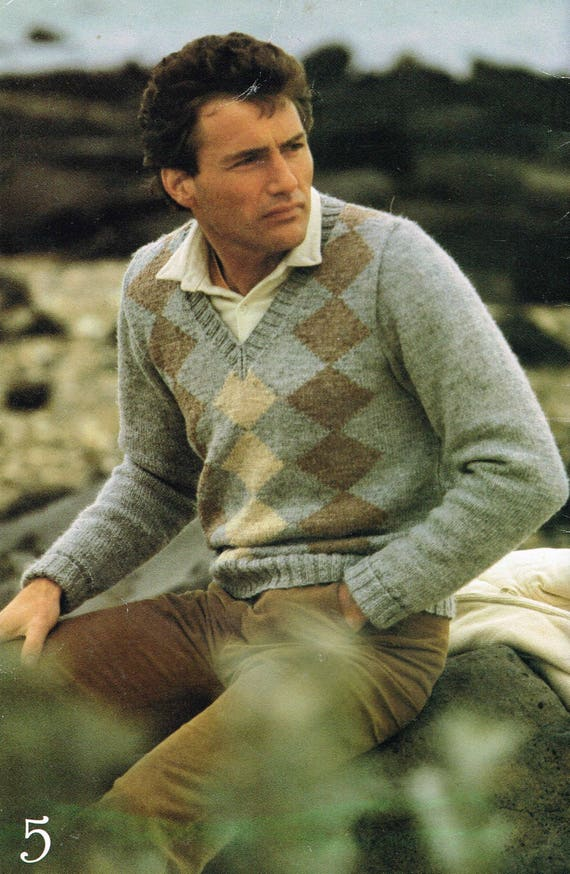 Vintage Knitting Patterns For Men Diamond V Neck Sweater Etsy