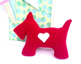 Scottie Dog Pillow Plush - Recycled wool sweater - Eco Friendly - Red polka dot - Dog Doll