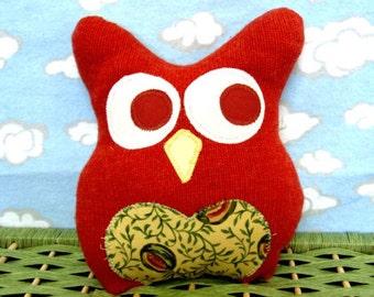 Owl Pillow Plush - Recycled Wool  - small orange