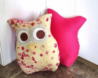Owl Pillow Plush - Mini Owl  -  Spring Flowers