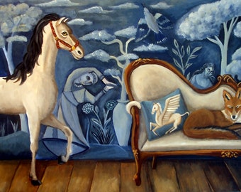 The Sleepover  Fine Art Print of an original painting  by Catherine DeQuattro Nolin