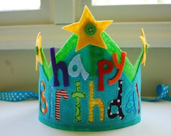 Custom felt and fabric happy birthday crown