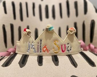 Custom felt and fabric Happy Birthday Crown  with rosettes