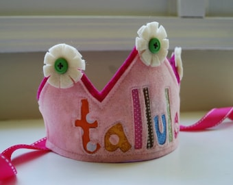 Custom felt and fabric Happy Birthday Crown  Double Layer with flowers