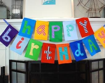 Custom felt and fabric Happy Birthday banner Teal Double