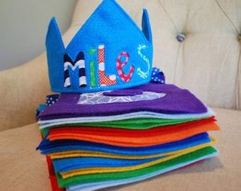 Custom Felt and Fabric Happy Birthday Banner AND Happy Birthday Crown