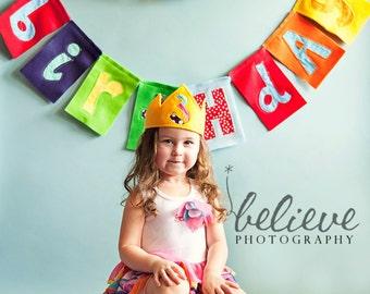 Custom Felt and Fabric Happy Birthday Banner