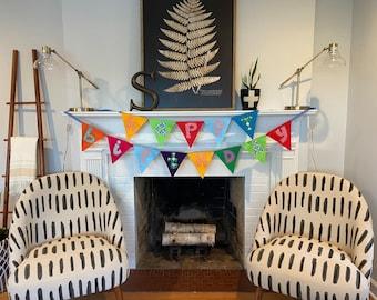 Custom Felt and Fabric Happy Birthday Pennant Double Banner