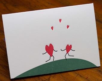 Love Letterpress Card, Hearts