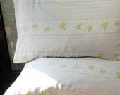 Set of Two vintage - Flower and Stripes - Pillow Cases STANDARD