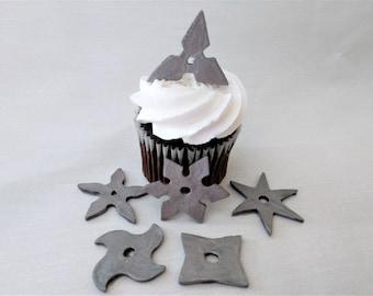 Fondant Throwing Stars Edible Ninja Cupcake Toppers Cake Marial Arts