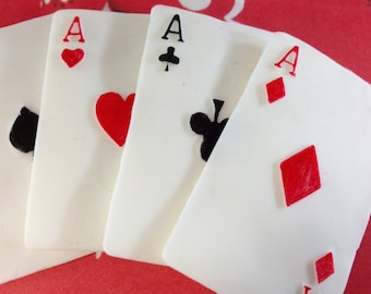 Fondant Poker, Fondant Cards, Poker, Edible Playing Cards, Poker Cake, Cake Topper Playing Cards, Edible Poker Cards