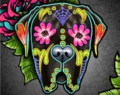 Mastiff in Brindle - Day of the Dead Sugar Skull Dog 8 quot x 10 quot Art Print