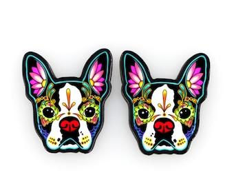 Boston Terrier Day of the Dead Sugar Skull Dog Earrings
