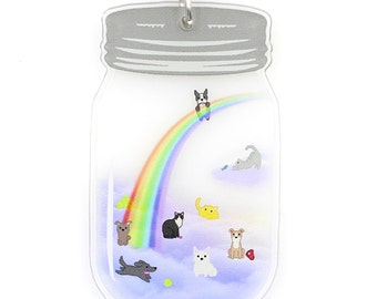 Heaven in a Jar - The Rainbow Bridge - Mason Jar Pet Memorial Necklace - Dogs and Cats