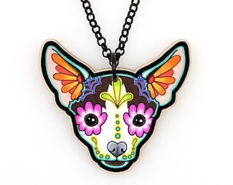Chihuahua in Moo Necklace - Multi Colored Day of the Dead Sugar Skull Dog Pendant