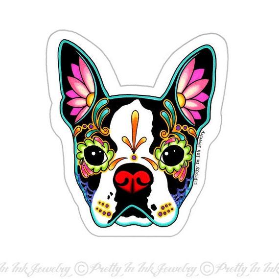 Boston Terrier Dog Pillow /& Necklace Charm Set  Black Sugar Skull