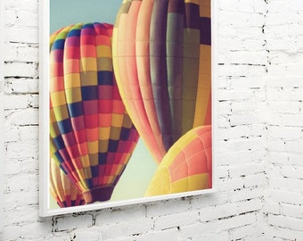 hot air balloon photography / colorful, balloon festival, stripes / yellow, blue, orange, red, green / crowd / 8x8 fine art photography