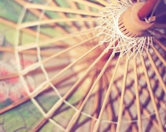 parasol photography / umbrella, pastel, geometric, circle, triangles, feminine / soft pink, yellow, pale green / parasol / 8x8