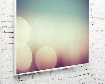 abstract photography / aquamarine, cyan, yellow, gold, eggplant, violet, wine, eggplant, circle, bokeh / balls and blur / 8x10