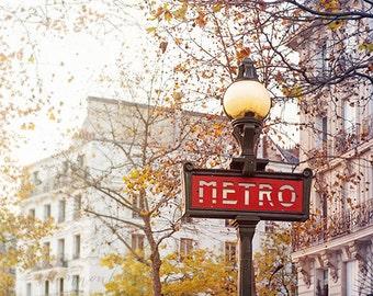 paris travel photography, metro sign, metropolitan, fall, autumn, red, gold, french home decor / metro / 8x10 fine art photo