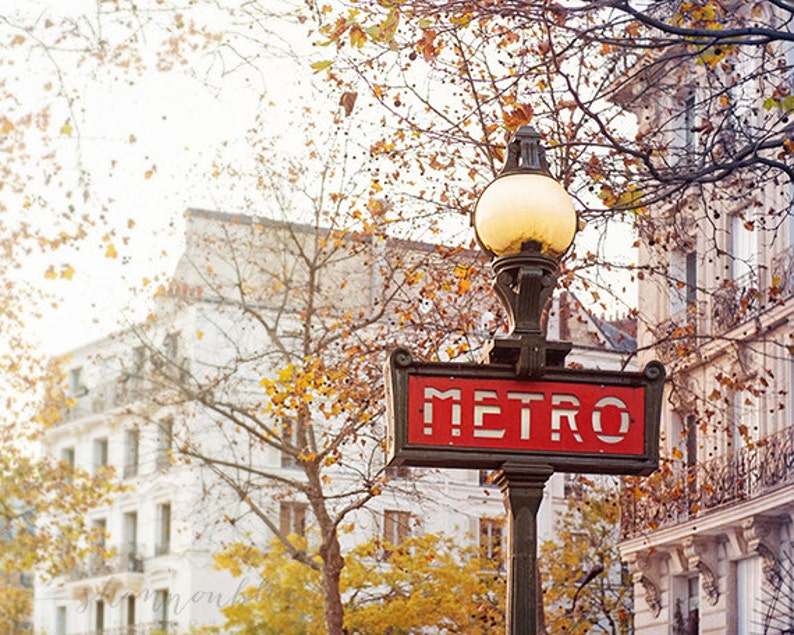 paris travel photography metro sign metropolitan fall image 0