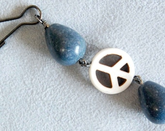 Turquoise OR Blue Sponge Coral and Groovy Peace Sign Backpack Charm, 1960s Style Hippie Peace Sign Purse Charm