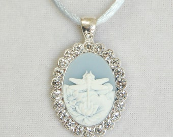 Dragonfly Blue and White Lucite Cameo in Rhinestone Framed Bezel on a Silken Cord Necklace, Woodland Jewelry, Gardener or Nature Lover Gift