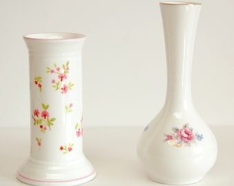 Two Different Fine China Bud Vases, Bone China Made in England, Floral Design Small Vases, Berkshire, Elizabethan Florence Pattern