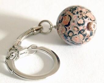 Leopard Skin Jasper or Tourmalinated Quartz Keychain, Easy Open Tourmilated Faceted Quartz Flexible Key Ring, Rock Hound Gift, Guy Gift