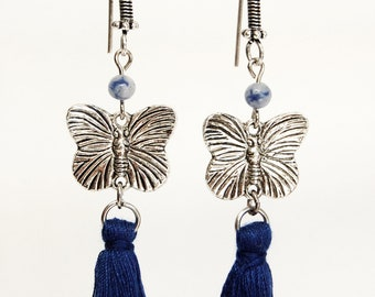 Butterfly Charm Earrings with Navy Blue Tassel and Sodalite Bead Accents, Nature Lover Gift, Silver Butterfly Woodland Jewelry