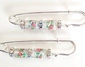 Silver with Dark Pink Roses Gathering Pin Pair, Lampwork and Metal Bead Sleeve Pin Pair, Sleeve Bling, Scarf Pin