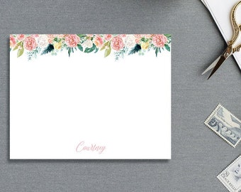 Pink Flowers THANK YOU CARD, Personalized Stationary stationery, blush pink floral   Printable or Printed #112