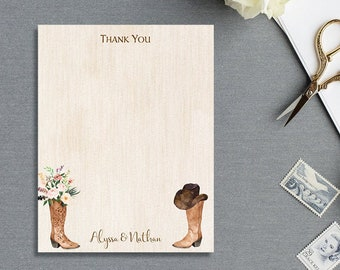 Cowboy Boots THANK YOU CARD, Personalized Stationary stationery, note cards, rustic, western, country   Printable or Printed