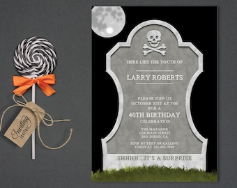 Tombstone Halloween Birthday Fall Adult Theme Over The Hill 40th 50th October
