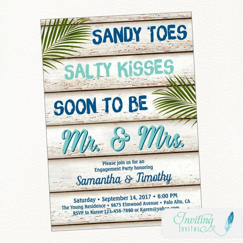 Beach Engagement Party Invitation Sandy Toes Salty Kisses image 0