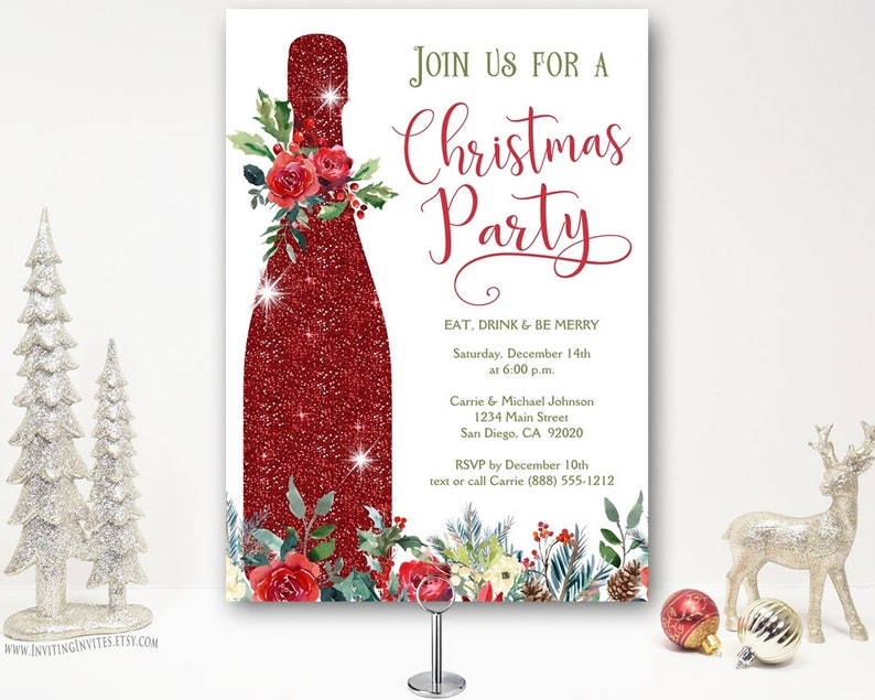 Christmas Cocktail Party Invitations.Christmas Cocktail Party Invitation Holiday Party Invite Christmas Cheer Champagne Wine Drinks Company Elegant Printable Or Printed