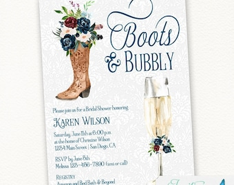Cowboy Boots and Bubbly Bridal Shower Invitation, Champagne Invite, Navy Blue Burgundy Flowers, Cowgirl, Rustic Farm, Western, Country 116
