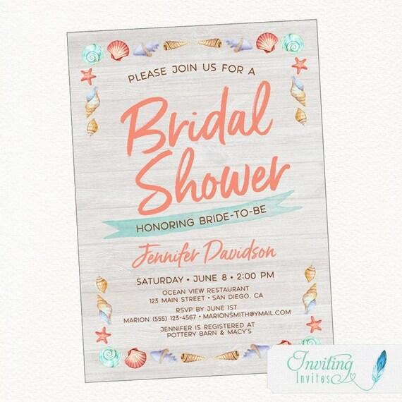 Beach bridal shower invitation featuring a seashell border etsy image 0 filmwisefo