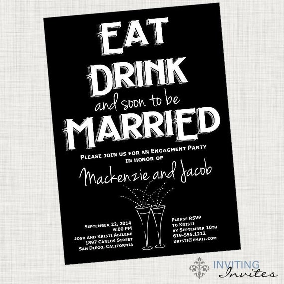 Eat Drink Be Married Invitation Engagement Party Rehearsal Etsy