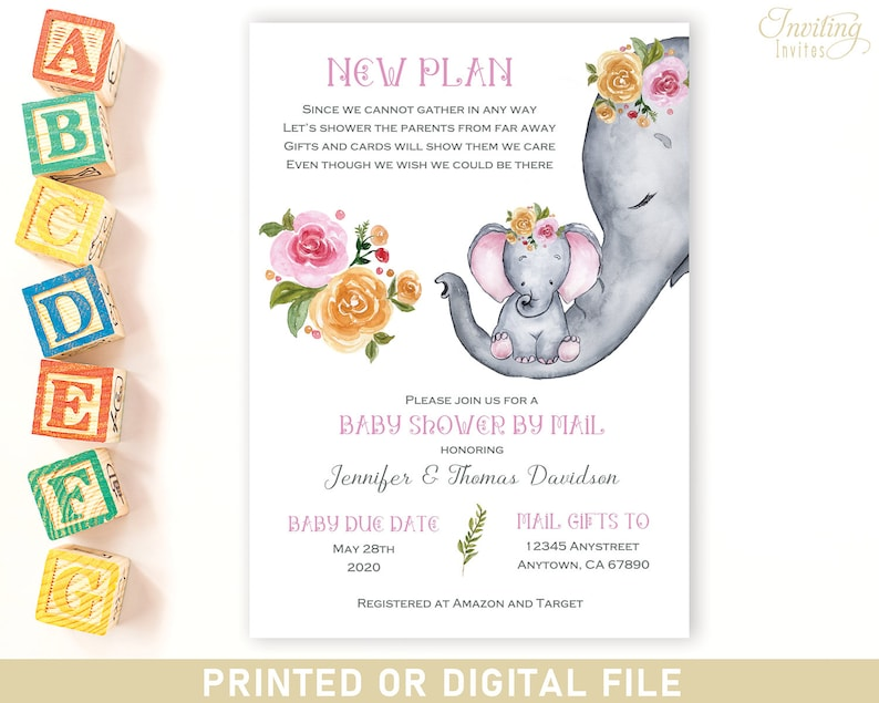 Elephant Baby Shower BY MAIL Long Distance baby shower image 0