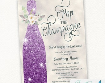 Purple Champagne Bridal Shower Invitation, Pop the Champagne She's Changing her Last Name, Engagement Party, Invite, brunch and bubbly