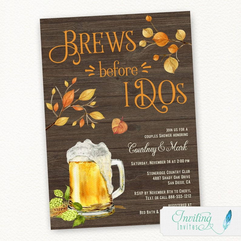 Brews before I Do's Couples Shower Bridal Shower Rustic image 0