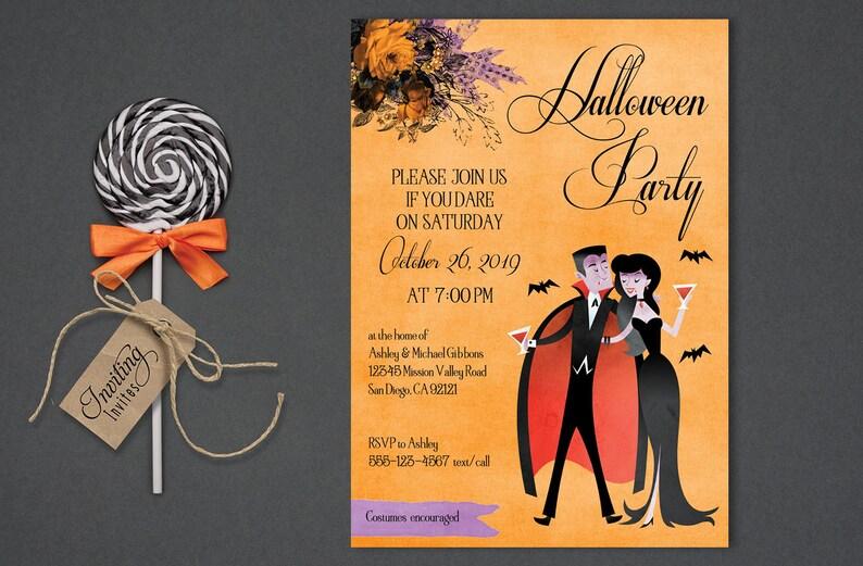 Vampire Couple Halloween Invitation for Adults Halloween image 1