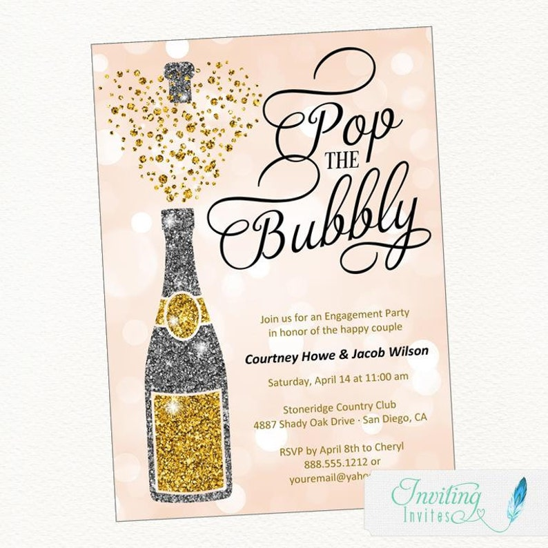 Pop the Bubbly Engagement Party Invitation  Champagne image 0