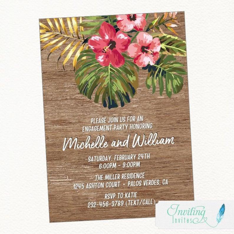 Tropical Engagement Party Invitation Hawaiian Engagement image 0