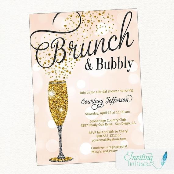 Brunch And Bubbly Bridal Shower Invitation Champagne Invitation Bridal Shower Invitation Birthday Party Invitation Bachelorette