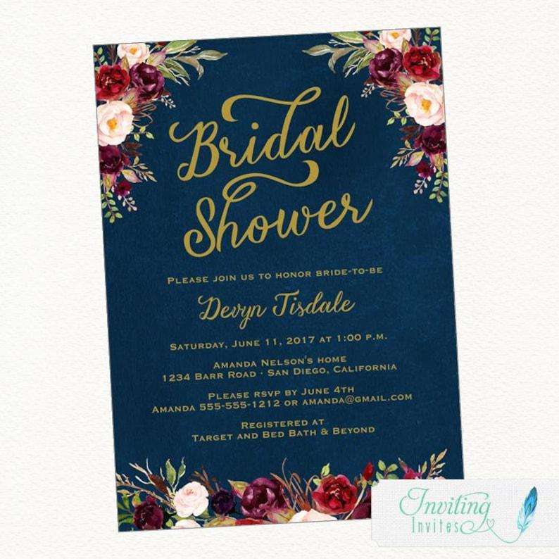 456efc4b45d6 Rustic Navy Bridal Shower Invitation Burgundy Bridal Shower