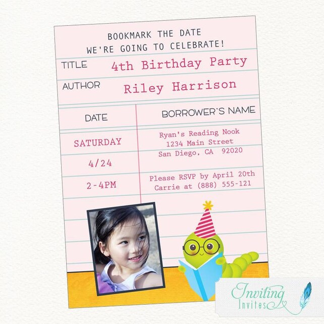 Bookworm Library Card Birthday Party Invitation Printable Digital File