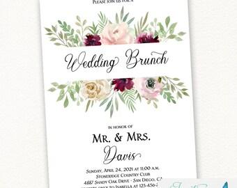 Blush and Burgundy Floral Wedding Brunch Invitation, floral invitation, Pink and burgundy flowers   PRINTED or DIGITAL
